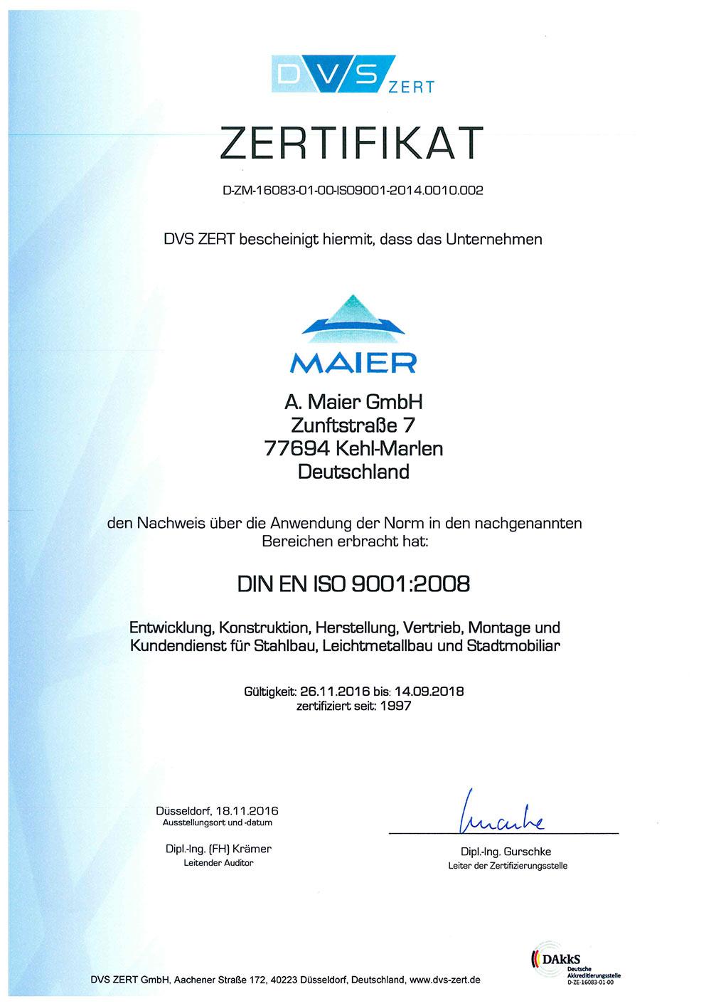 Zertifikat_9001__A_Maier_GmbH_bis_09_2018-1_Seite1