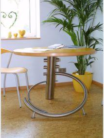 Tisch Edelstahl/Holz (Design Fraskoia)   Durchmesser 800 mm   Oberfläche: Buche/Edelstahl geschliffen