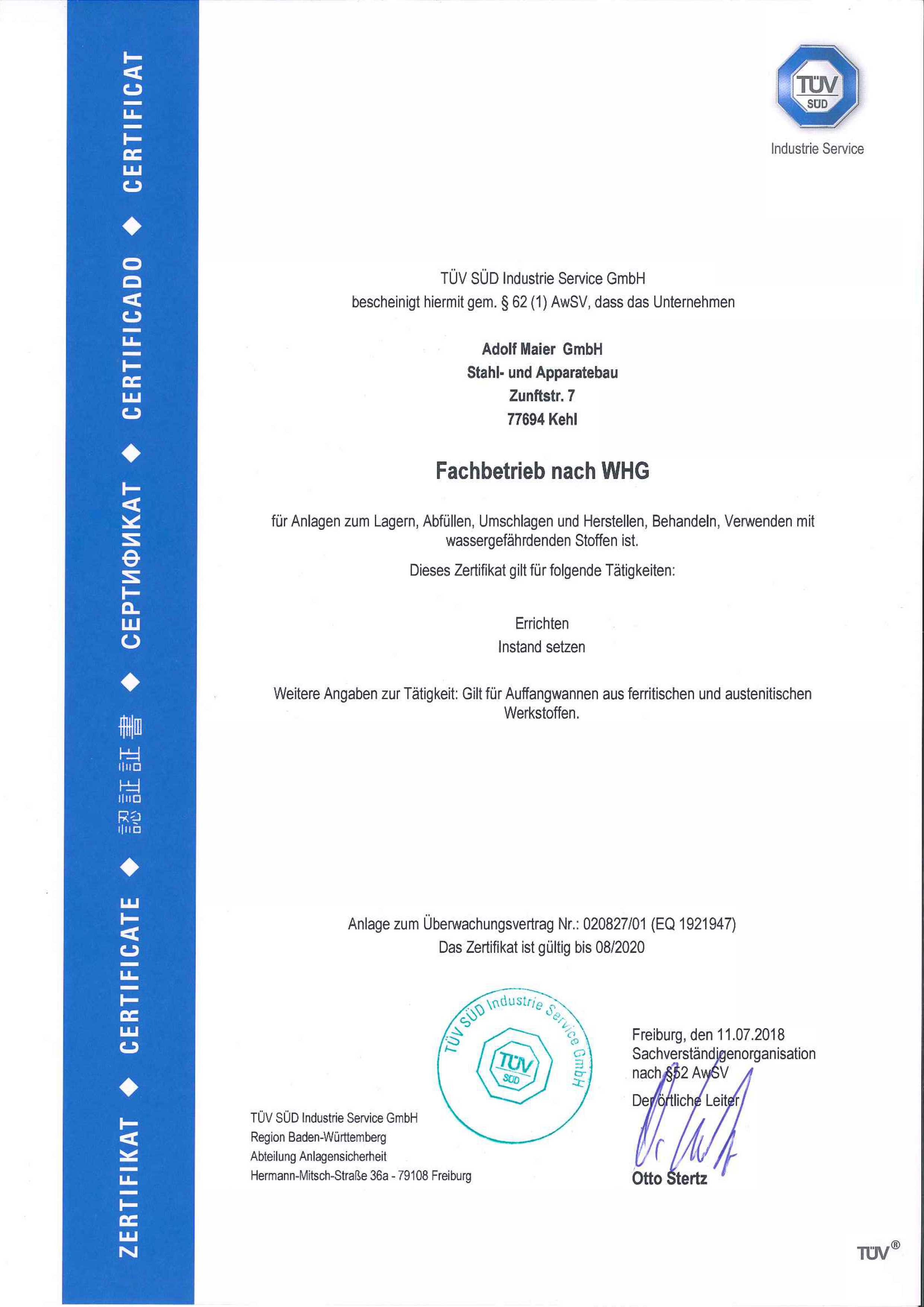 WHG Zertifikat bis 08_2020