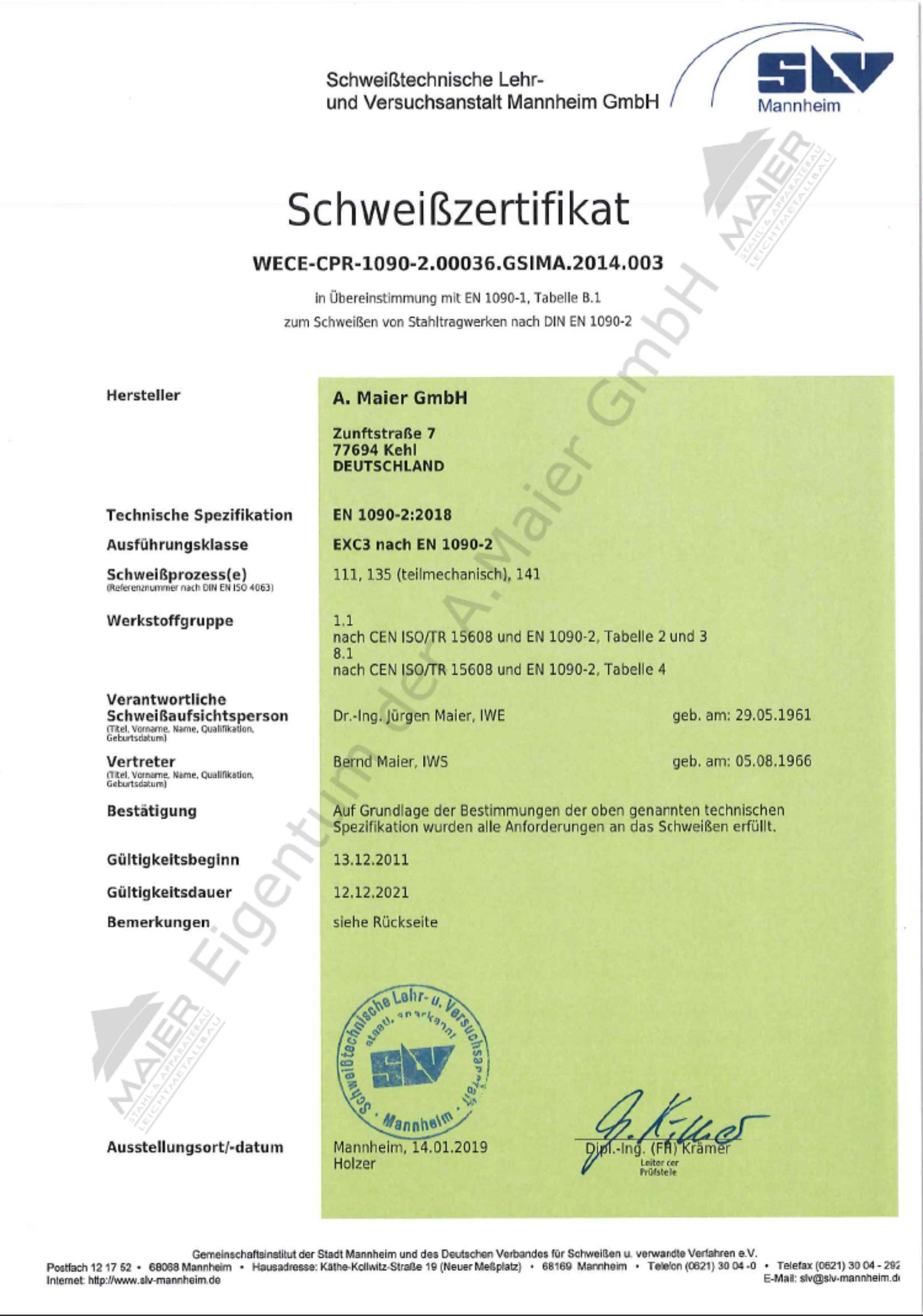 Schweisszertifikat Deutsch nach 1090 gültig bis 12.2021 mit Wasserzeichen